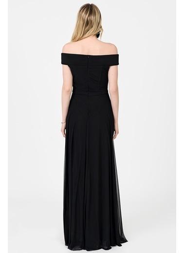İroni Kayık Yaka Uzun Abiye Elbise Siyah
